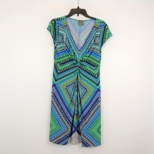 Muse Blue Green Print Dress Size 10